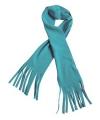 Fleece sjaal met franjes aqua blauw