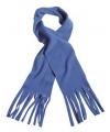 Fleece sjaal met franjes kobalt