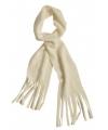 Fleece sjaal met franjes off white