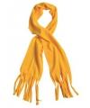 Fleece sjaal met franjes oker geel